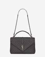 SAINT LAURENT Monogram College D Large COLLEGE bag in asphalt gray quilted leather f