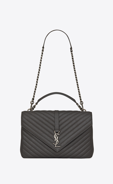 SAINT LAURENT Monogram College Woman Large COLLEGE bag in asphalt gray quilted leather a_V4