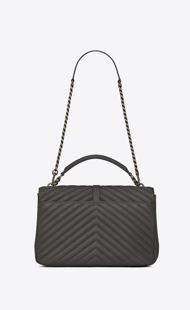 SAINT LAURENT Monogram College Woman Large COLLEGE bag in asphalt gray quilted leather b_V4