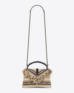 SAINT LAURENT Monogram College D Medium COLLEGE bag in black and white Berber cloth with tassels f