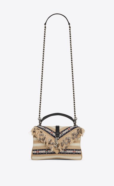 SAINT LAURENT Monogram College D Medium COLLEGE bag in black and white Berber cloth with tassels a_V4