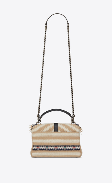 SAINT LAURENT Monogram College D Medium COLLEGE bag in black and white Berber cloth with tassels b_V4
