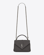 SAINT LAURENT Monogram College D Medium COLLEGE bag in asphalt gray quilted leather f