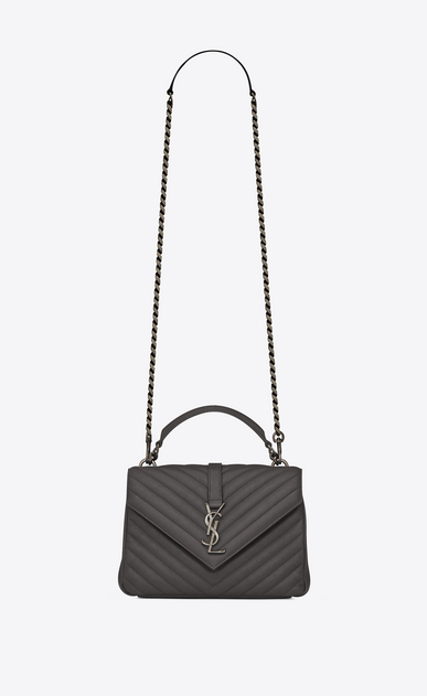 SAINT LAURENT Monogram College Woman Medium COLLEGE bag in asphalt gray quilted leather a_V4