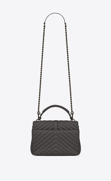 SAINT LAURENT Monogram College Woman Medium COLLEGE bag in asphalt gray quilted leather b_V4