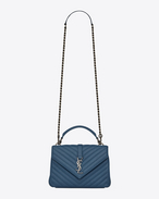 SAINT LAURENT Monogram College D Medium COLLEGE bag in denim blue quilted leather f