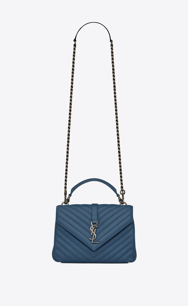 SAINT LAURENT Monogram College D Medium COLLEGE bag in denim blue quilted leather a_V4