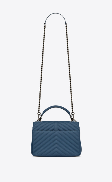SAINT LAURENT Monogram College D Medium COLLEGE bag in denim blue quilted leather b_V4
