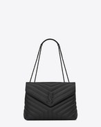 "SAINT LAURENT Monogramme Loulou D Medium LOULOU bag with chain and black ""Y"" quilted leather f"
