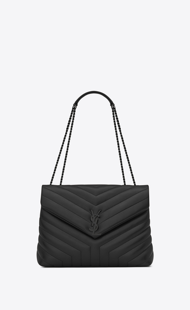 "SAINT LAURENT Monogramme Loulou Woman medium loulou bag in black ""y"" quilted leather a_V4"