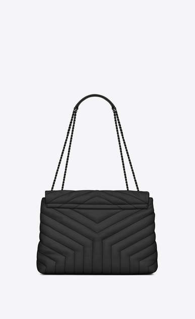 "SAINT LAURENT Monogramme Loulou Woman medium loulou bag in black ""y"" quilted leather b_V4"