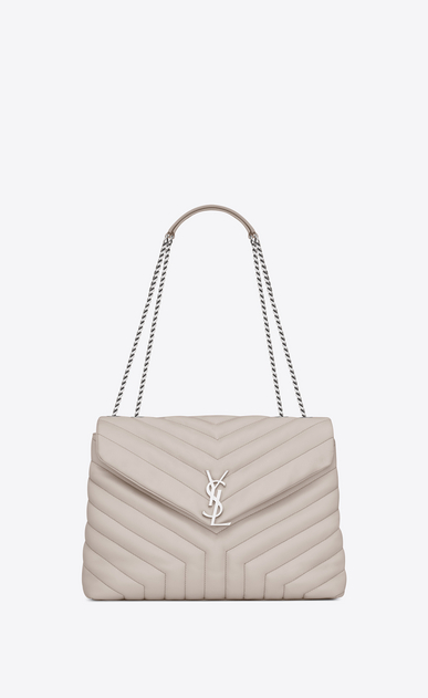 "SAINT LAURENT Monogramme Loulou Woman medium loulou bag in ivory ""y"" quilted leather a_V4"