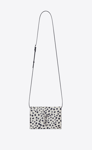 SAINT LAURENT Mini bags Kate D KATE Toy bag in white Elaphe with black polka dots a_V4