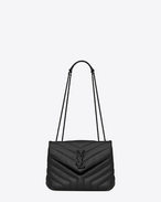 "SAINT LAURENT Monogramme Loulou D Small LOULOU chain bag in black ""Y"" quilted leather f"