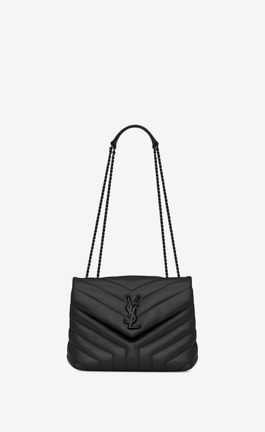 "Bag LOULOU Small con catena, in pelle nera matelassé a ""Y"""