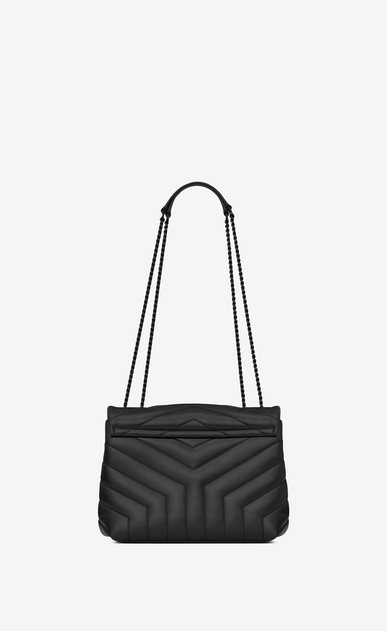 "SAINT LAURENT Monogramme Loulou Woman small loulou bag in black ""y"" quilted leather b_V4"