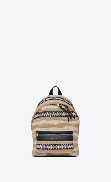 SAINT LAURENT City Backpack D TOY CITY backpack in black and ivory Berber cloth a_V4