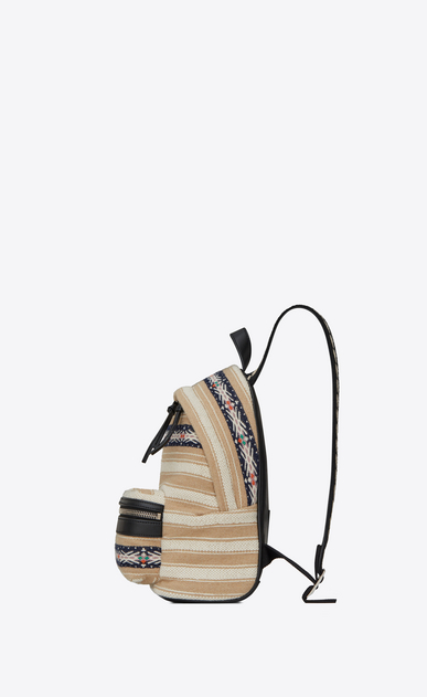 SAINT LAURENT City Backpack D TOY CITY backpack in black and ivory Berber cloth b_V4