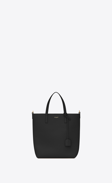 SAINT LAURENT Shopping Saint Laurent E/W D SHOPPING Toy bag in black leather a_V4