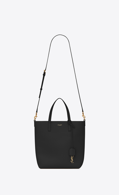 SAINT LAURENT Shopping Saint Laurent E/W D SHOPPING Toy bag in black leather b_V4