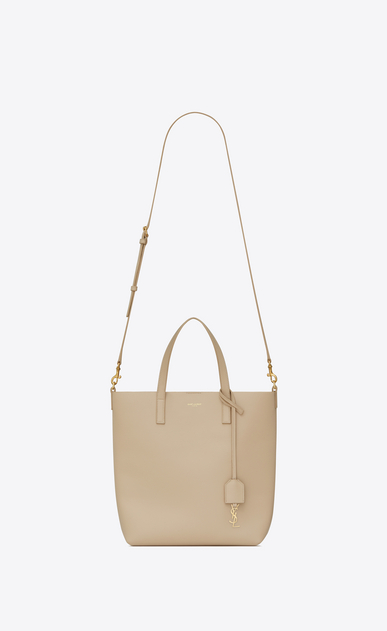 SAINT LAURENT Shopping Saint Laurent N/S Femme Sac Toy SHOPPING en cuir poudre b_V4