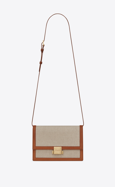 SAINT LAURENT Bellechasse D Medium BELLECHASSE SAINT LAURENT satchel in beige linen canvas and cognac leather a_V4
