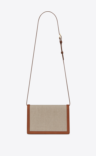 SAINT LAURENT Bellechasse D Medium BELLECHASSE SAINT LAURENT satchel in beige linen canvas and cognac leather b_V4