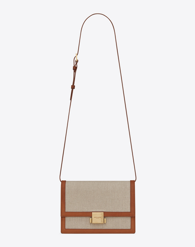 Bellechasse Medium Leather-Trimmed Canvas Shoulder Bag in Beige
