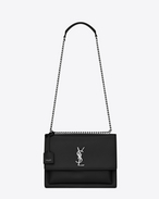 SAINT LAURENT Sunset D Sac Large SUNSET en cuir noir f