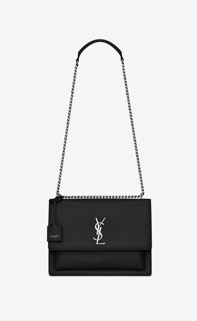 SAINT LAURENT Sunset D Large SUNSET bag in black leather a_V4