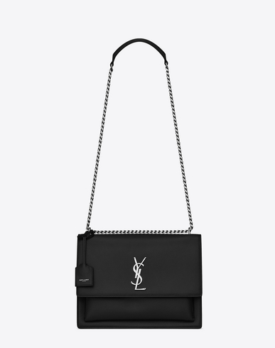SAINT LAURENT Sunset Monogram Ysl Large Flap-Top Crossbody Bag, Black