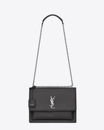 SAINT LAURENT Sunset D Sac Large SUNSET en cuir gris asphalt f