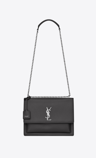 SAINT LAURENT Sunset D Large SUNSET bag in asphalt gray leather a_V4
