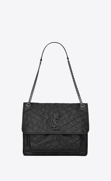 SAINT LAURENT Niki bags D Large NIKI chain bag in vintage crinkled and quilted black leather a_V4