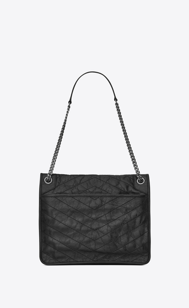 SAINT LAURENT Niki bags Woman large niki chain bag in crinkled and quilted black leather b_V4