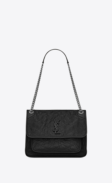 SAINT LAURENT Niki bags Woman medium niki chain bag in crinkled and quilted black leather a_V4