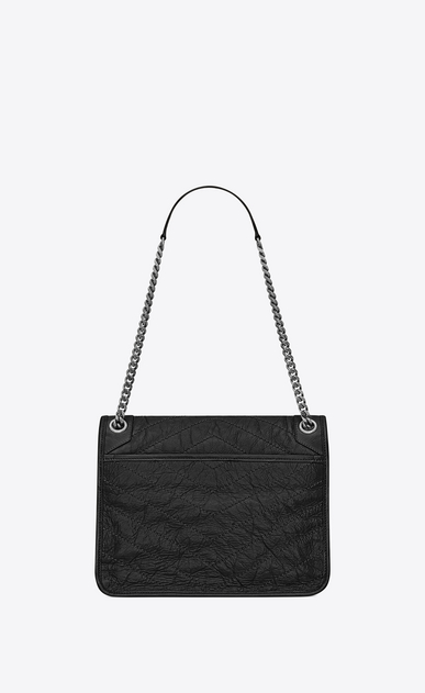 SAINT LAURENT Niki bags Woman medium niki chain bag in crinkled and quilted black leather b_V4