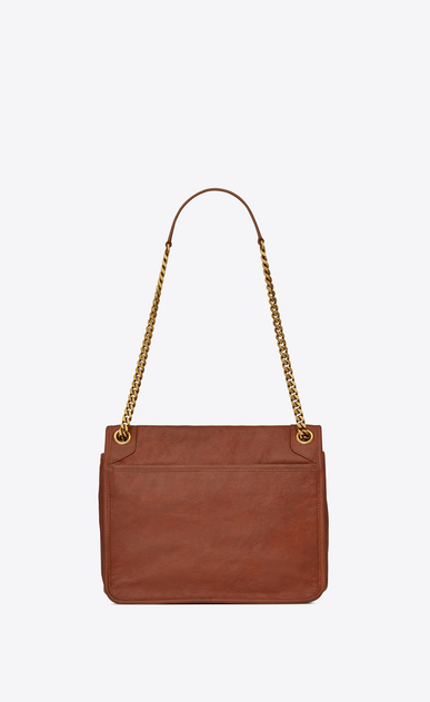 SAINT LAURENT Niki bags Woman medium niki chain bag in crinkled and quilted cognac leather b_V4