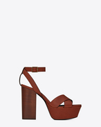 SAINT LAURENT ファラ D FARRAH 80 sandals with crisscrossed ties in caramel leather f