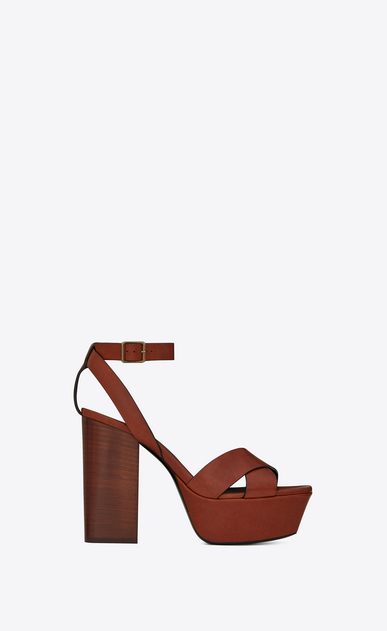 SAINT LAURENT Farrah D FARRAH 80 sandals with crisscrossed ties in caramel leather a_V4