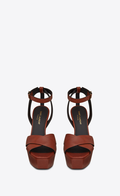 SAINT LAURENT Farrah D FARRAH 80 sandals with crisscrossed ties in caramel leather b_V4