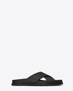 SAINT LAURENT Nu pieds D JIMMY notched sandals in black leather f