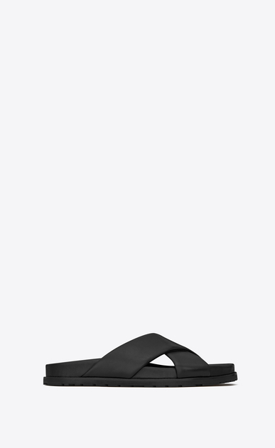 SAINT LAURENT Nu pieds Woman JIMMY notched sandals in black leather a_V4