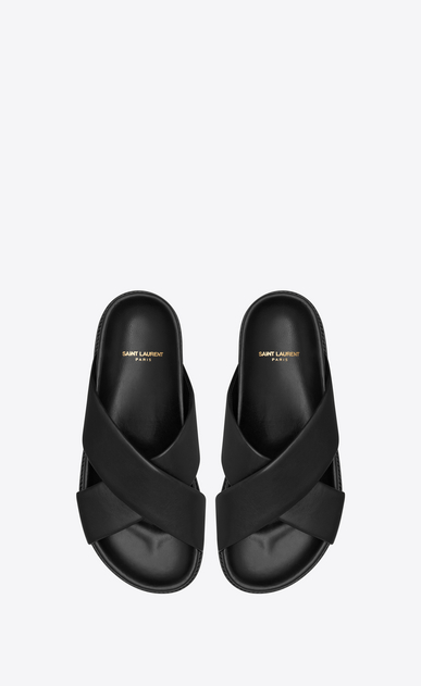 SAINT LAURENT Nu pieds D JIMMY notched sandals in black leather b_V4