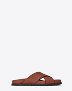 SAINT LAURENT Nu pieds D JIMMY notched sandals in caramel leather f