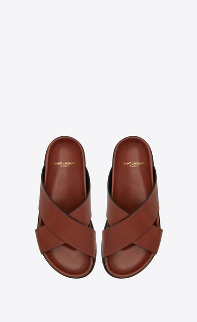 SAINT LAURENT Nu pieds D JIMMY notched sandals in caramel leather b_V4