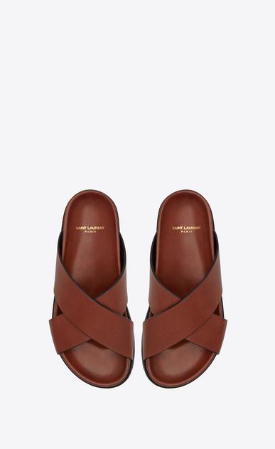 SAINT LAURENT Nu pieds D Sandale JIMMY crantée en cuir caramel b_V4