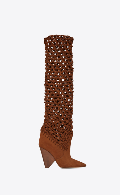 SAINT LAURENT Niki D NIKI 105 ankle boots in plaited caramel suede a_V4