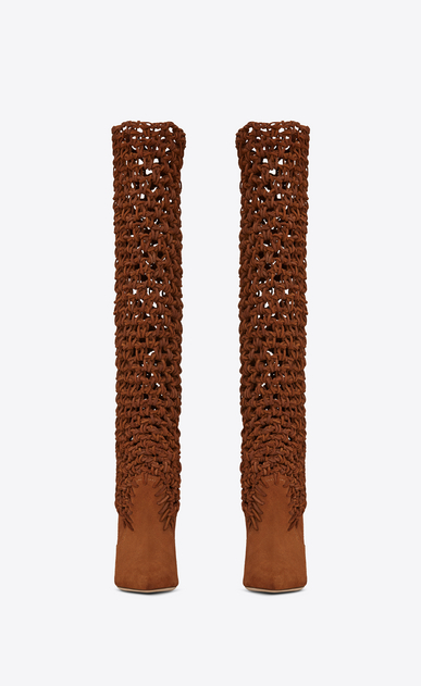 SAINT LAURENT Niki D NIKI 105 ankle boots in plaited caramel suede b_V4