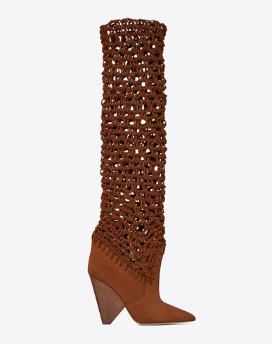 NIKI 105 ANKLE BOOTS IN PLAITED CARAMEL SUEDE